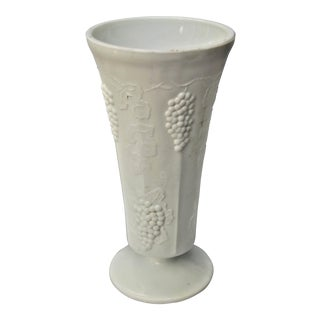 Vintage Colony Harvest Design Milk Glass Vase For Sale