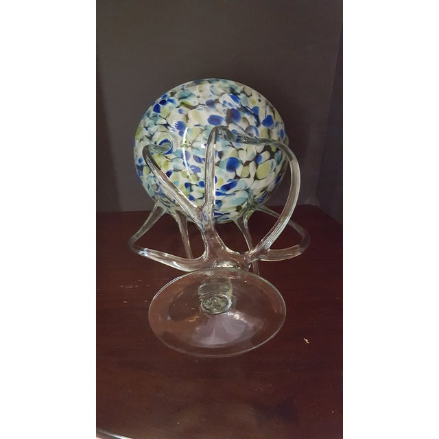 Another Beautiful and Unique Art Glass Bowl by Josefina. This unusual design consists of eight clear handblown glass legs...