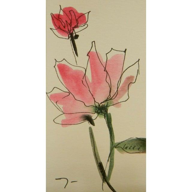 Jose Trujillo Original Watercolor Floral Painting For Sale