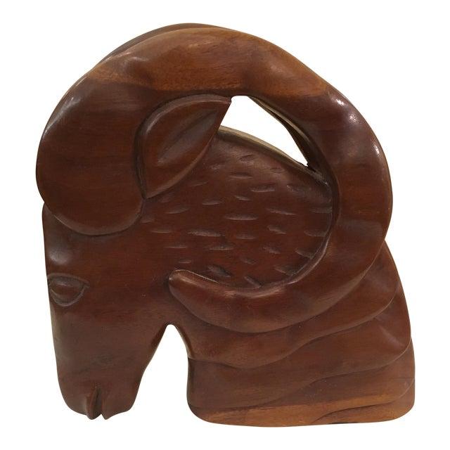 Mid-Century Modern Hand Carved Ram Head - Image 1 of 10