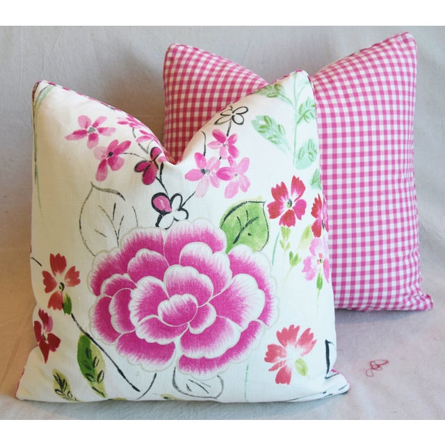 "French Manuel Canovas Floral Linen Feather/Down Pillows 20"" Square - Pair For Sale - Image 11 of 13"