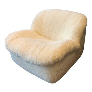 1970's Reupholstered Curly Shearling Swivel Chair - 2 Available For Sale