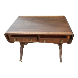 Mid-Century Modern Wooden Rolling Drop-Leaf Table