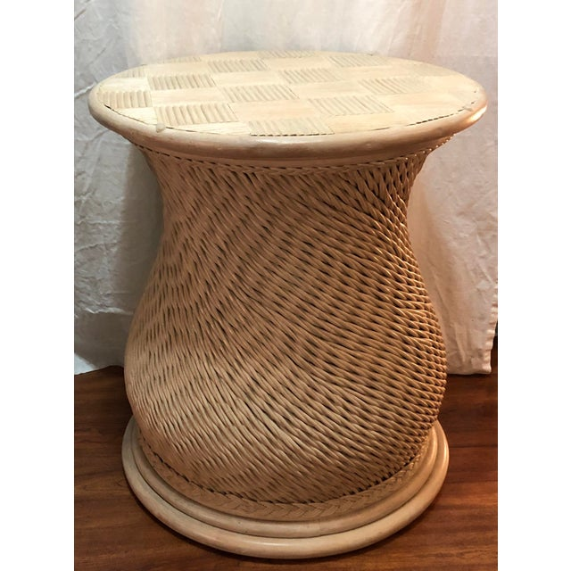 Vintage Woven Rattan Ficks Reed McGuire Boho Chic Organic Style Table For Sale - Image 4 of 4
