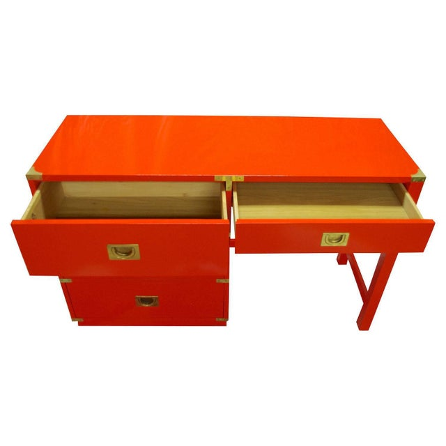 Hollywood Regency Drexel Heritage Lacquered Campaign Desk For Sale - Image 3 of 6
