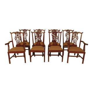 Ej Victor Chippendale Style Mahogany Dining Chairs - Set of 8 For Sale