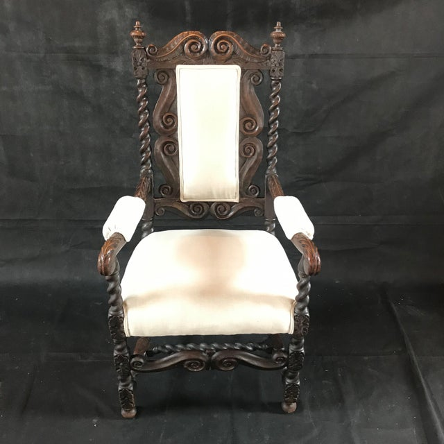 18th Century Vintage Carved Oak Jacobean Arm Chair For Sale - Image 10 of 10