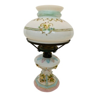 Antique Early 20th Century Rudolstadt Germany Hand Painted Porcelain & Glass Lamp For Sale