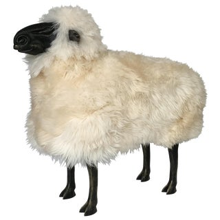 Lalanne Style Carved Wooden Sheep in Natural Sheepskin For Sale