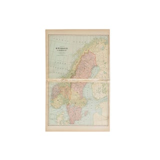 Cram's 1907 Map of Sweden For Sale