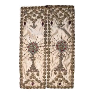 Antique Napoleon III Era French Chalice Ciborium Veil With Gilt Metal Embellishment For Sale