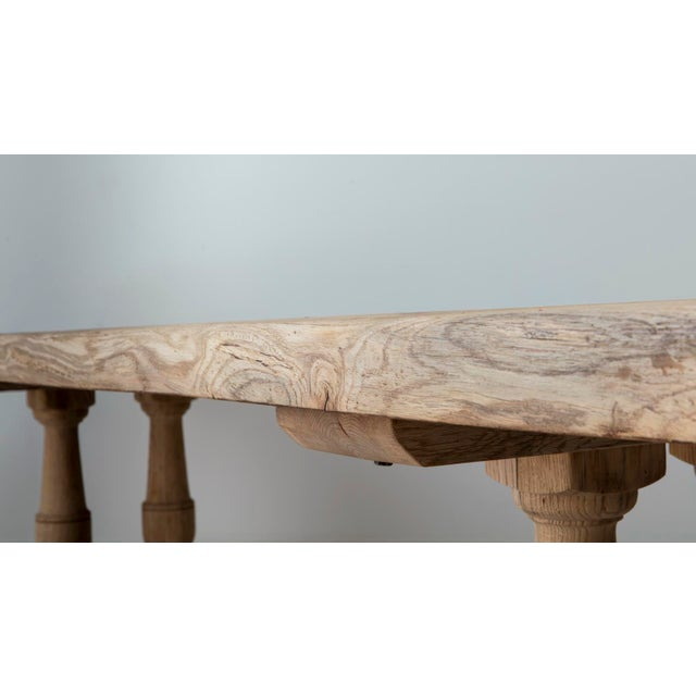 Mid 19th Century 19th Century French Large Bleached Oak Provençal Style Trestle Table For Sale - Image 5 of 13