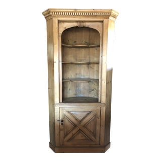 1940s Rustic Pine Barrel Back Corner Cupboard Cabinet For Sale