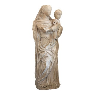 Large French Limestone Statue For Sale