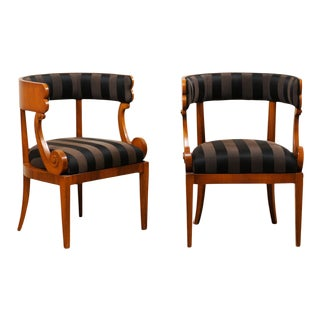 Italian Barrel Back Chairs with Volute-Carved Arm Supports - a Pair For Sale