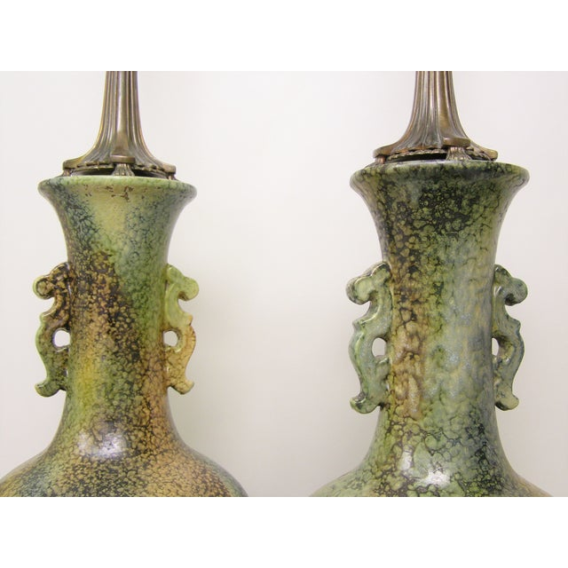 James Mont Pair Mid-Century Modern Asian Ceramic Pottery Lamps Green MCM James Mont Style For Sale - Image 4 of 11