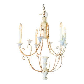 1920s Italian Six Arm Wood and Tole Chandelier For Sale
