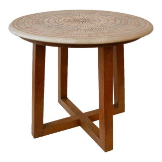 Design Technics Ceramic and Walnut Table For Sale