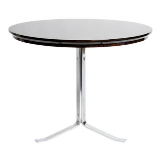 Round Table With Metal Legs and New Veneer Top For Sale
