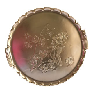 1990s Americana Rose-Gold Etched Serving and Decor Tray For Sale