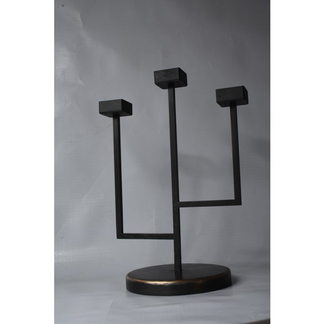 Industrial Handmade Blackened Steel Trident Candle Holder For Sale - Image 3 of 4