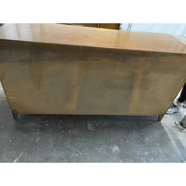 Metal American of Martinsville 9 Drawer Walnut Dresser With Brass Accents For Sale - Image 7 of 8