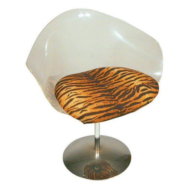 Mid-Century Modern Charles Hollis Jones Lucite and Chrome Swivel Chairs For Sale - Image 3 of 9