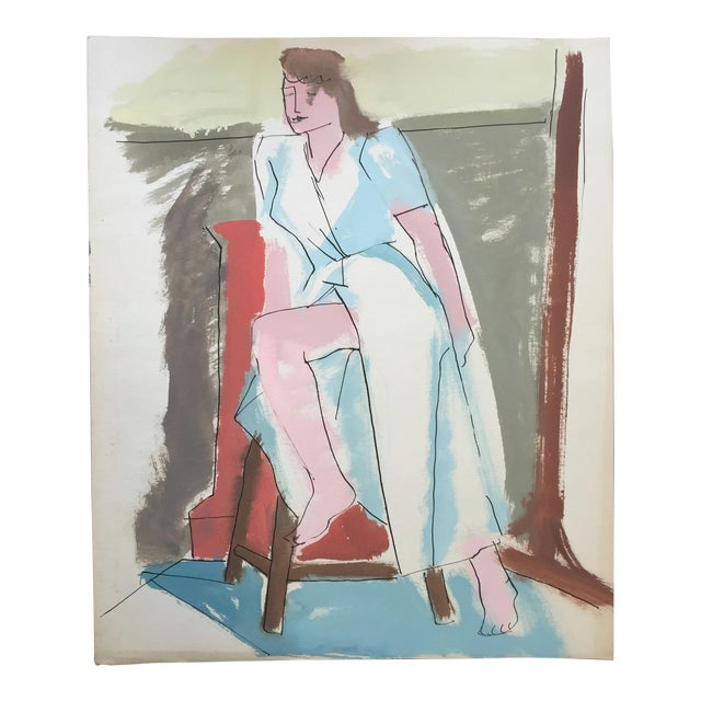 "C 1950s Bay Area Figurative Painting ""Slit"" For Sale"
