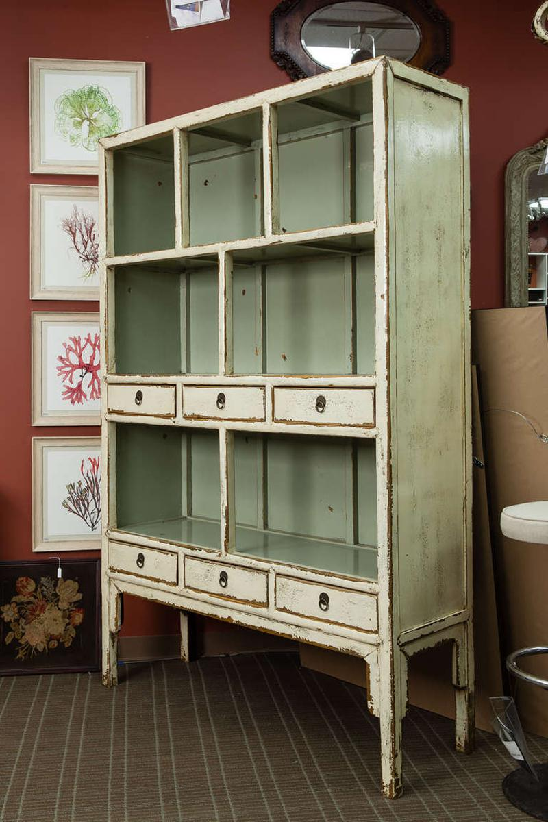 Chinese Open Shelf Cabinet With Cream Colored Lacquer Finish   Image 2 Of 7