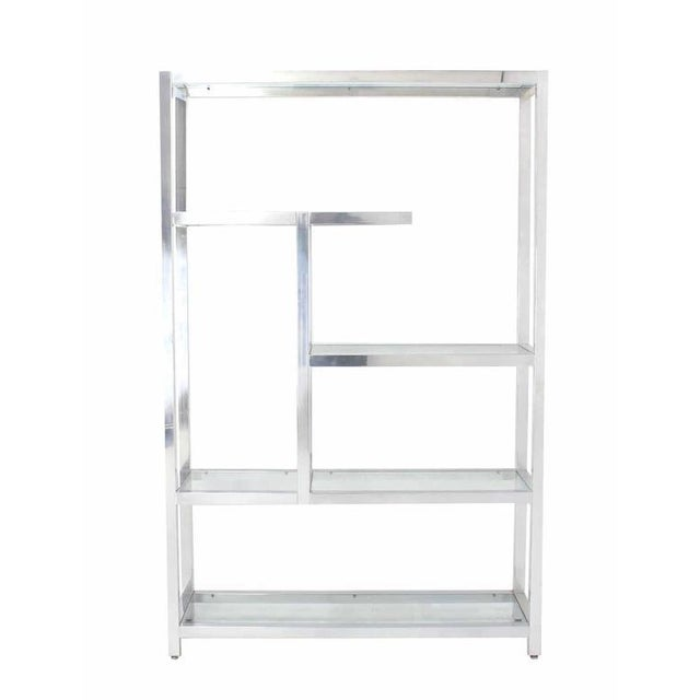 Large Mid Century Modern Multi Tear Level Shelf Wall Unit For Sale In New York - Image 6 of 6