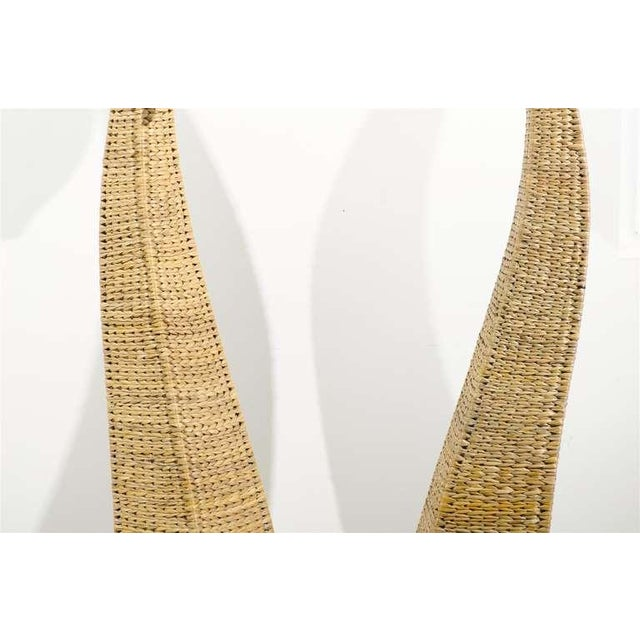 Wicker Fantastic Pair of Giant Raffia Floor Lamps For Sale - Image 7 of 10