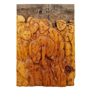 1970s Vintage Jean Claude Gaugy Modernist Wood Wall Sculpture For Sale