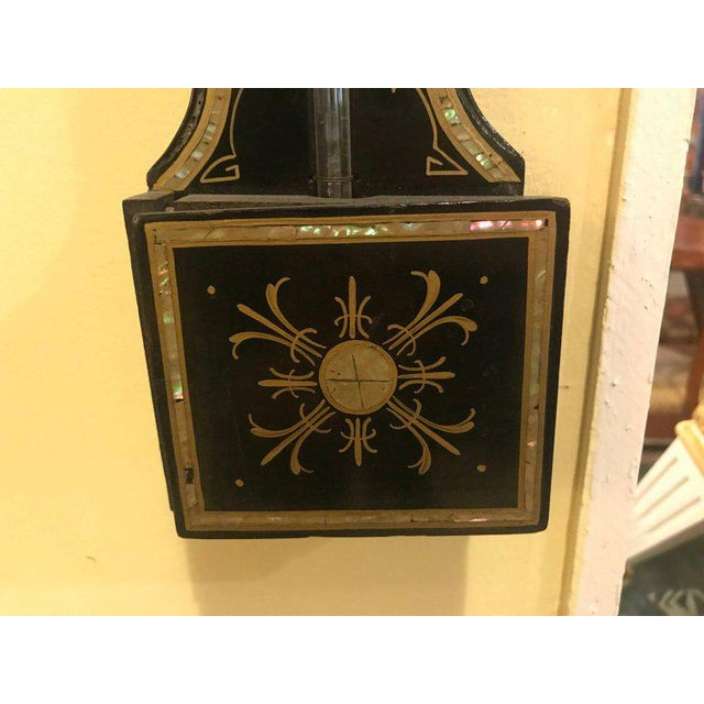 Black Fine Antique 19th Century Ebonized with Mother-of-Pearl Decorated Barometer For Sale - Image 8 of 11