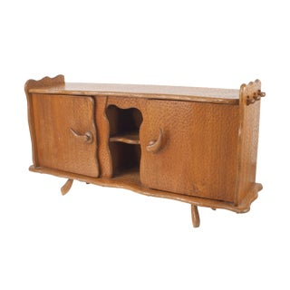 French Rustic Adirondack Style Chipped Pine Sideboard For Sale