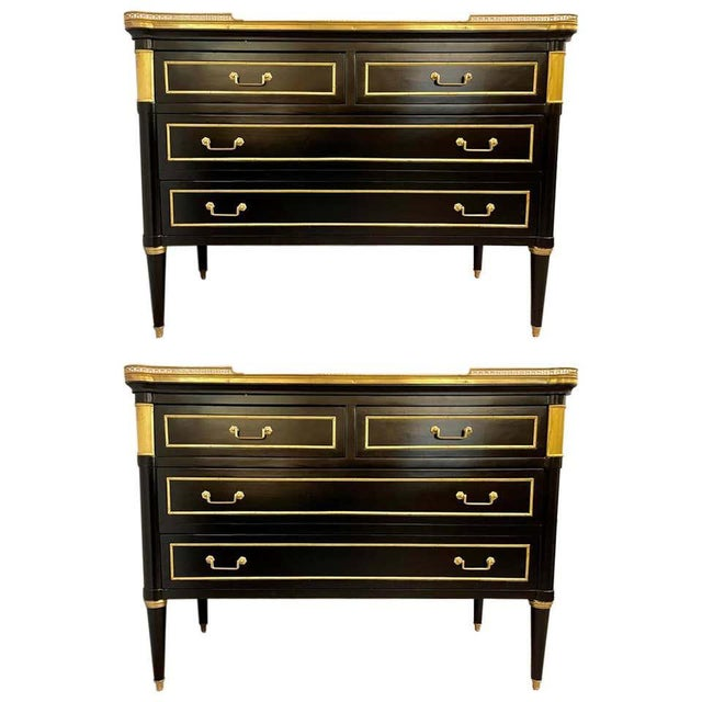 Maison Jansen Style Hollywood Regency Commodes or Chests / Nightstands a Pair For Sale - Image 13 of 13