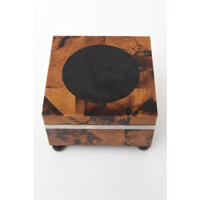 Modern Maitland Smith Tessellated Tortoise Shell, Wood and Chrome Hinged Box For Sale - Image 3 of 10