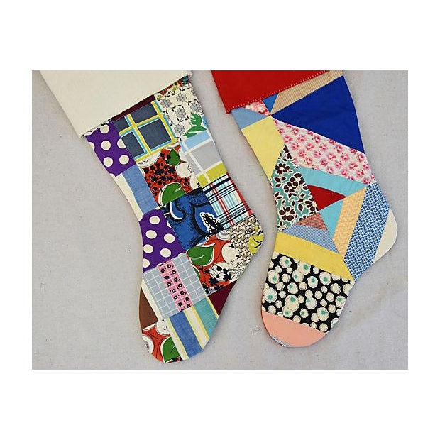 "Large Custom 22"" Tailored Patchwork Quilt Christmas Stockings - Pair - Image 6 of 7"