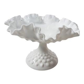 Fenton Hobnail Ruffled Edge Milk Glass Pedestal Bowl For Sale