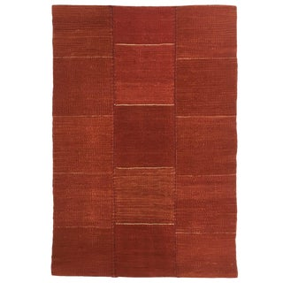 Rug & Relic Modern Patchwork Kilim in Brick Red