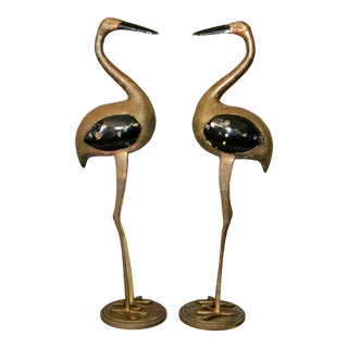 Hollywood Regency Asian Style Black Enamel & Bronze Crane Sculptures - a Pair For Sale