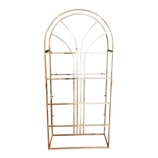 Vintage Brass-Plated Etagere W/ Glass Shelves