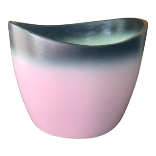 Mid-Century Decorative Pink and Black Glazed Pottery Dish For Sale