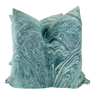 """Wave Woven in Aqua/Blue 22"""" Pillows-A Pair For Sale"""