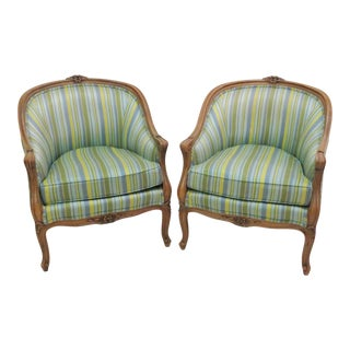 Thomasville Carved Walnut Barrel Back Lounge Chairs - A Pair For Sale