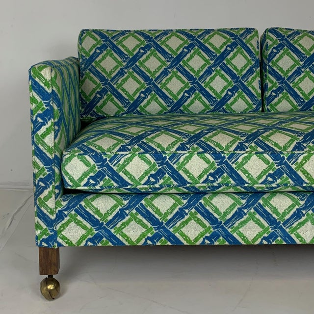 Blue Pair of Dunbar Style Tuxedo or Parson Settees in Lattice Bamboo Upholstery For Sale - Image 8 of 10