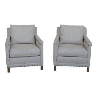Crate & Barrel White Upholstered Club Chairs - a Pair