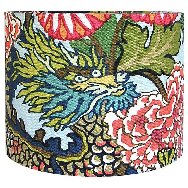 Aquamarine Chiang Mai Dragon Drum Shade For Sale - Image 6 of 7