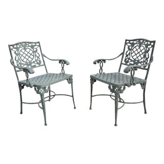 Pair French Neoclassical Green Cast Iron Lattice Garden Patio Dining Arm Chairs For Sale