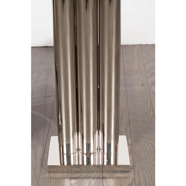 This custom set of Art Deco style andirons feature a skyscraper triple columnar design. They can be ordered in a variety...