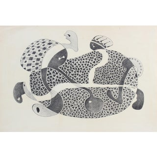 Jane Mitchell Organic Figures Abstract, Graphite Drawing, Circa 1970s For Sale